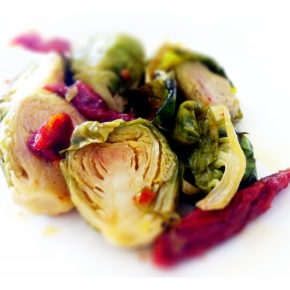 Roasted Brussel Sprouts with Sun Dried Tomatoes
