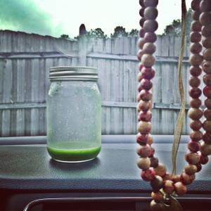 green juice in the car