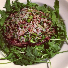 Quinoa Stuffed Portobello over Arugula