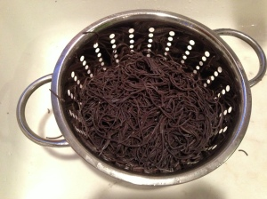 strained black bean pasta